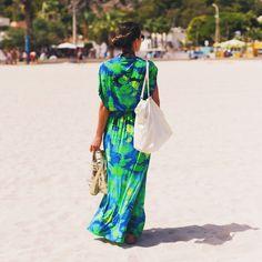 Saída de praia longa floral  - moda praia- beachwear                                                                                                                                                                                 Mais