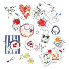 rosemarywebbenjoy - 0 results for picnic ideas Dessert Illustration, Pencil Illustration, Cute Drawings, Drawing Sketches, Drawing Ideas, Watercolor Food, Food Drawing, Food Illustrations, Food Art
