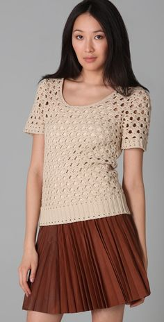Crochetemoda: Beige Blusa ganchillo