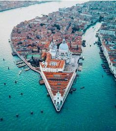 Venice Italy Vacation - Aerial view of Venice, Italy featuring a basilica and the entrance of the canals into the ocean. Italy Vacation, Vacation Spots, Italy Travel, Venice Travel, Vacation Packages, Vacation Places, Italy Trip, Vacation Travel, Travel Europe