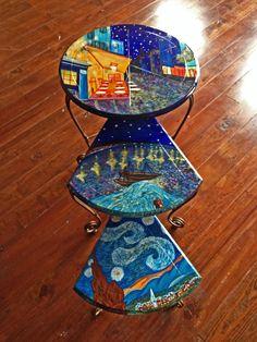 "Interpretations of Vincent van Gogh: Nesting Table Set ""Café Terrace at Night"" • ""Starry Night on the Rhone"" • ""Starry Night"" Interpreter: Sydney Gruber"