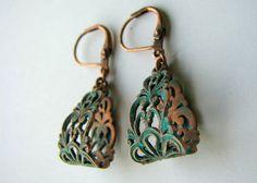 Copper Patina Teardrop Earrings