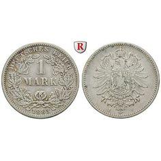 Deutsches Kaiserreich, 1 Mark 1883, F, 5,0 g fein, f.ss, J. 9: 1 Mark 24 mm 1883 F. J. 9; fast sehr schön 65,00€ #coins