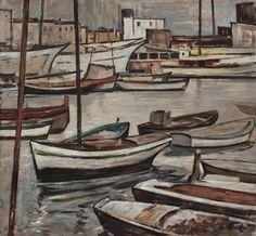 Leopold Hauer, BOOTE IM HAFEN, um 1960, WV 1329, Öl auf Hartfaser, 70 x 75 cm Painting, Painting Art, Paintings, Paint, Draw