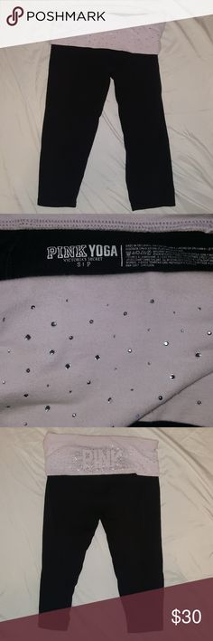 Victoria's Secret Capri Yoga Pants Victoria's Secret yoga pants - size S - only one small spot on back top (pictures twice) - these are fold over yoga leggings Victoria's Secret Pants Leggings