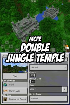 Check out the not one, but two jungle temples at the game spawn point in this Pocket Edition seed! Minecraft Pe Seeds, Video Minecraft, Minecraft Plans, Amazing Minecraft, Minecraft Tutorial, Minecraft Blueprints, Minecraft Creations, Minecraft Projects, Minecraft Stuff