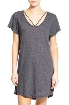 LNA Grey Strap Detail Jersey T-Shirt Dress