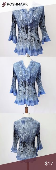 """LANE BRYANT Blue Paisley Crinkle Blouse In great condition Stretches to fit variable sizes Size 14/16 Bust 42"""" Waist 40"""" Length 28"""" Shoulder 15' Lane Bryant Tops Blouses"""