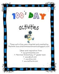 Printable for 100's Day...