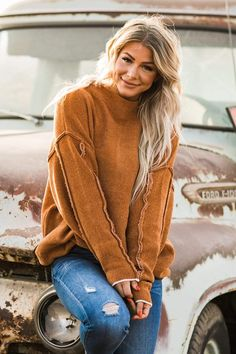 We're living for all the retro vibes from our Aaliyah Mock Neck Sweater, and you will too! With the fun seam detail, flattering mock neck style, an oversized fit, our sweater is a must-have this season! Rock it under your favorite overalls or pair it with your favorite skinnies and booties. Casual Outfit Ideas, Cute Casual Outfits