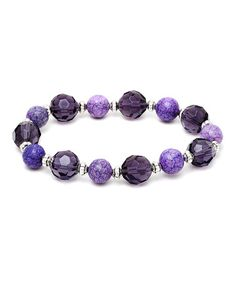 Look what I found on #zulily! Amethyst Agate & Murano Glass Beaded Stretch Bracelet #zulilyfinds