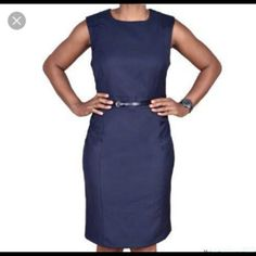 """Blue- Dress spandex Blue Dress spandex ' Length:36"""" Waist:34"""" unstretched And 46""""stretched .Beautiful! ADN exellent condition  NWT 95% polyester .similar dress in the first two pics. Enfocus studio Dresses Midi"""