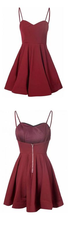 Simple A-Line Spaghetti Straps Satin Burgundy Short Homecoming Dress With Pleats,100