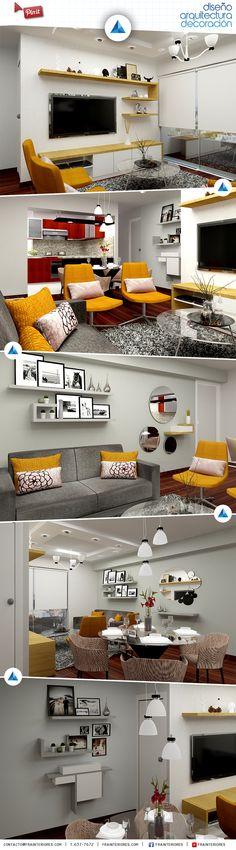 Hermosa sala de estar y comedor, decorada en tonos azules y ...