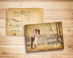 Save the date postcard - Elegant vintage shabby chic garden wedding
