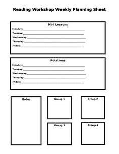 Reading Workshop Weekly Planning Guide