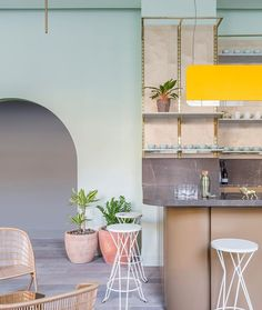 Completed in 2017 in Edinburgh, United Kingdom. Images by Nicholas Worley. Eden Locke is a 72 room hotel with a cafe and bar on the ground floor that we designed in the Scottish capital of Edinburgh. The project was a. Cafe Interior, Interior Exterior, Interior Walls, Pastel Interior, Flat Interior, The Woodhouse, Green Painted Walls, Edinburgh Hotels, Edinburgh Scotland