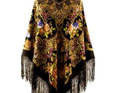 Unique extra large Black and Gold Festival Gypsy Boho Russian Piano Shawl/Scarf with silk knitted long fringe
