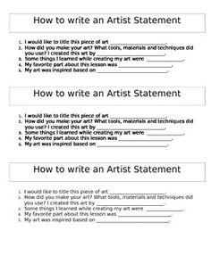 This is a one page word document that can be cut into three pieces on how to write an artist statement. I have students glue this into their sketchbooks so they always have it to refer back to when writing artist statements. Writing A Bio, English Writing Skills, Art Education Lessons, Art Lessons Elementary, Gcse Art Sketchbook, Sketchbooks, Artist Bio Example, Artist Research Page, Mission Statement Examples
