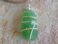 Sea Beach Glass Necklace Wire Wrapped Sea by UniqueChiqueJewelry, $14.00