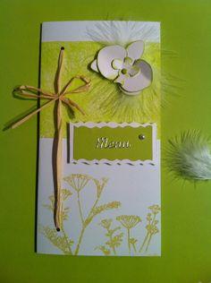 """Menu - mariage nature vert anis et blanc """"Raphia, orchidée et plume"""" : Autres papeterie par mon-faire-part-est-unique"""