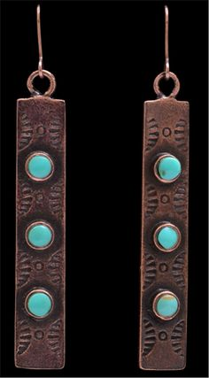 3D Belt Co. LoulaBelle Long Copper and Turquoise Earrings LE9011C
