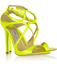 Neon Wedding Shoes | Jimmy Choo Lance neon patent-leather sandals