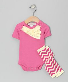 Take a look at this Pink Chevron Bodysuit & Leg Warmers - Infant by Taylor Joelle Designs on #zulily today! It would be absolutely ADORABLE for a baby girl's 6-month portrait session.