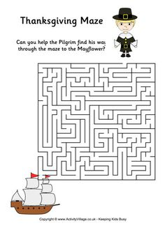 Thanksgiving Mazes Puzzles And Grid Drawing Find This Pin More On School By Setarpey Free Coloring Pages Printable Activity