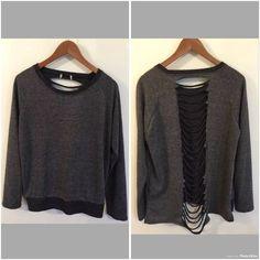 Rocker Biker street Style Pullover Sweatshirt Back Cut Out Slits Size Medium…