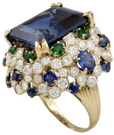 van cleef vintage pearl rings | VAN CLEEF & ARPELS Sapphire Diamond Emeral Ring | From a unique ...