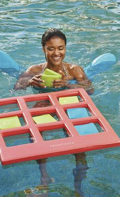 Our exclusive Multi Toss Game provides hours of aquatic enjoyment. Designed for in-pool competition, this two player game can be played like Tic-tac-toe, or make up your own game.