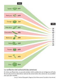 "The empoverishment of the biodiversity of commercial seeds. Created by Hugues Piolet for ""L'Alimentation en otage"", a book by famous environmental activist José Bové."