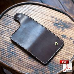 Leather Vertical Snap Wallet Digital PDF Template