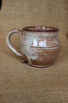 Rustic wheel thrown cappuccino stoneware mug, small coffee mug by AudPottery on Etsy