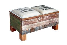 Sitztruhe Recycling Massiv Holz Vintage Retro Echt Holz Teak Aufbewahrung Truhe in Möbel & Wohnen, Möbel, Sitzbänke & Hocker | eBay