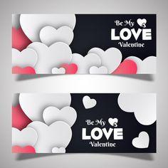 Valentine Banner, Valentine Theme, Valentines Design, Love Valentines, Brochure Design, Flyer Design, Banners, Web Banner, San Valentin Vector