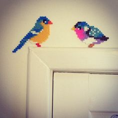 Birds hama perler beads by jnfrederikke - Would make a nice ornament favor for a garden party brunch. Perler Beads, Perler Bead Art, Fuse Beads, Kids Crafts, Crafts To Do, Bead Crafts, Hama Beads Design, Hama Beads Patterns, Beading Patterns
