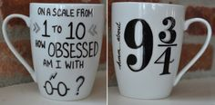 Harry Potter Mug Hand Painted How by GirlAfterMyOwnHeart on Etsy
