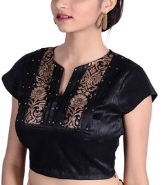 Black Dupion Designer Blouse - BL30029 | Indian Silk House Agencies