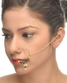 Golden Nose ring with Crystal Drop #Jewelry #Fashion #New #Stones #Studded #Ethnic #Indian #Traditional