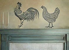 2-chicken stencils.  I can imagine these on the wall above the kitchen door.