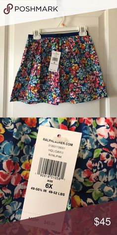 be281933fc01 Kids  ralph lauren floral skirt 6x new with tags nwt