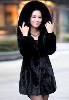 Black Mink Hair Fur Coat and Jacket