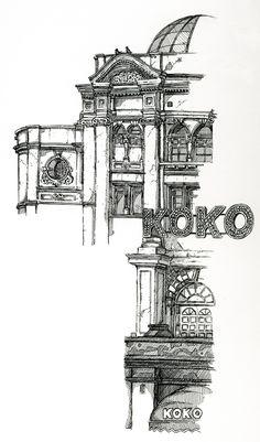 Location Drawings by Chris Burge, via Behance