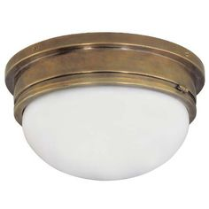 Antique Brass Large Marine Flush Mount Ceiling Light Visual Comfort And Company Flush Moun