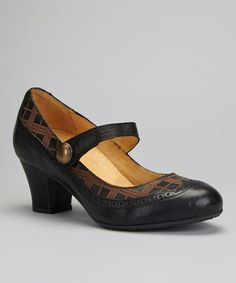 Love this Black & Brown Leather Mary Jane by Brako on #zulily! #zulilyfinds