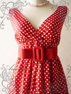 Polka Dot Love - Retro Summer Dress Vintage Inspired Cocktail Cotton Dress in Red Shade Party or Everyday Dress