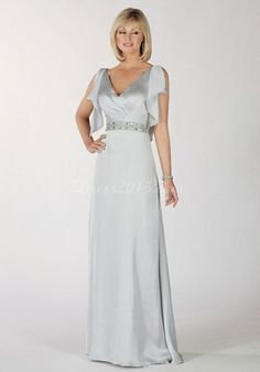 V-neck Ruffles Beaded Silver Floor-Length Chiffon Mother Of The Bride Dress