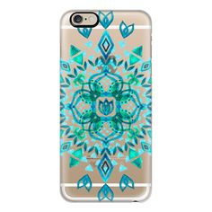 iPhone 6 Plus/6/5/5s/5c Case - Aqua Watercolor Lotus Mandala on... ($40) ❤ liked on Polyvore featuring accessories, tech accessories, iphone case, iphone cover case, iphone cases, transparent iphone case and apple iphone cases